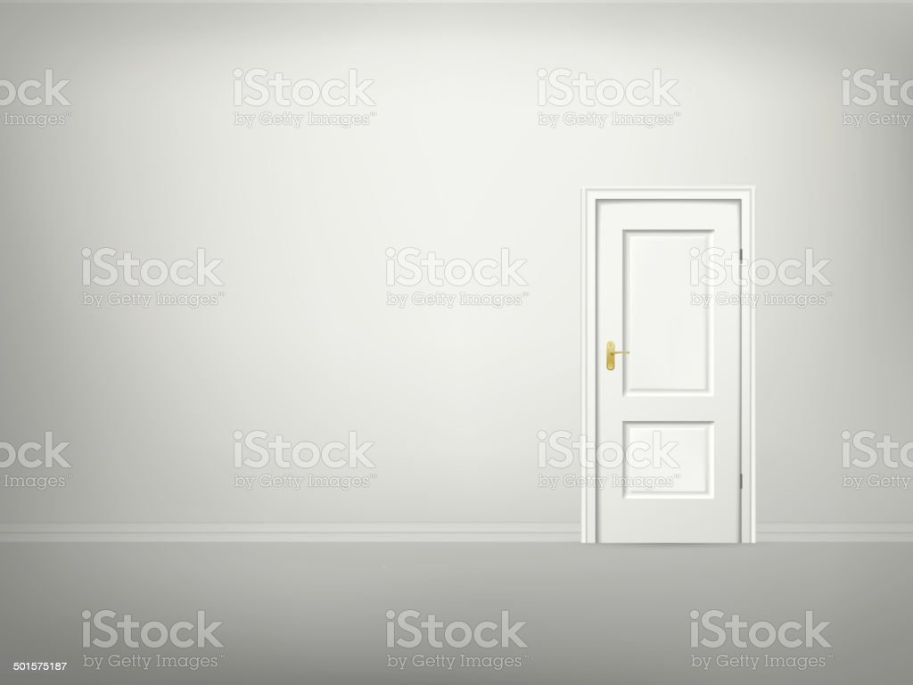 vector 3d door and wall vector art illustration