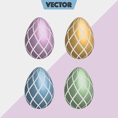 Vector 3D Easter eggs diamond shapes pastel