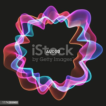 Vector 3d echo audio circular wavefrom spectrum. Abstract music waves oscillation graph. Futuristic sound wave visualization. Colorful glowing impulse pattern. Synthetic music technology sample
