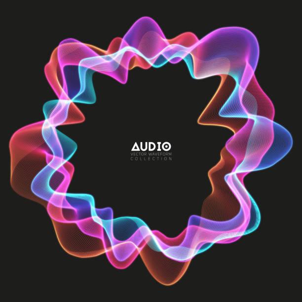 ベクトル3dエコーオーディオのスペクトルからの円形波。抽象的な音楽波振動グラフ。未来的な音波の可視化。カラフルな輝くインパルスパターン。合成音楽技術サンプル。 - 音響点のイラスト素材/クリップアート素材/マンガ素材/アイコン素材