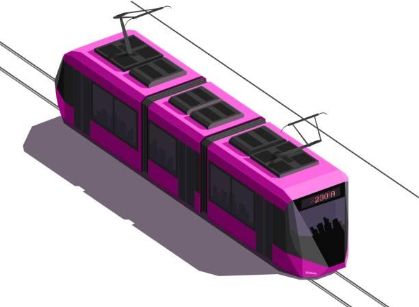 illustrazioni stock, clip art, cartoni animati e icone di tendenza di vector 3d flat isometric city rose tram - linea tranviaria
