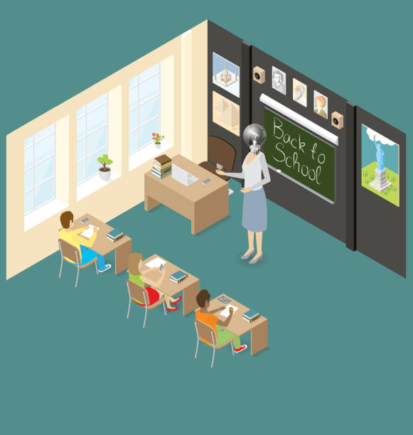Vector 3d Flat Isometric With Education Concept Education Concept. Vector 3d flat isometric with teacher, classroom and students. It contains layer object with transparency active lifestyle stock illustrations