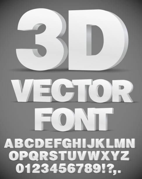 Vector 3D font Vector 3D flat style font. Set of letters and numbers in EPS10 three dimensional stock illustrations