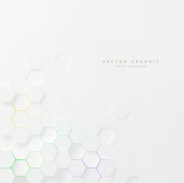 Vector 3d geometric background. Hexagonal backdrop. White abstract texture. Vector 3d geometric background. Hexagonal backdrop. hexagon stock illustrations