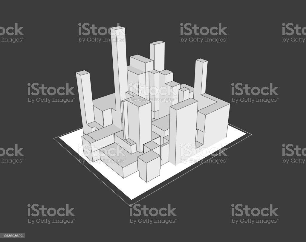 modèle géométrique 3D vectorielle - Illustration vectorielle