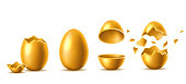 Golden eggs with broken, exploded eggshell set. Easter holiday symbol. Investment, money and success concept. Restaurant, cafe menu design. Earnings and savings design object. Vector illustration