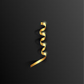 Vector 3d golden serpentine with shadow element on a black background.
