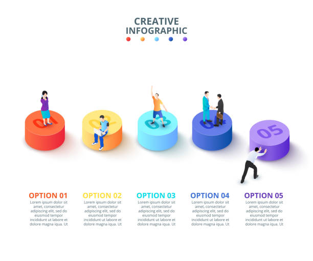 Vector 3d gradient cylinders with people. Business template for presentation. Creative concept for isometric infographic with 5 steps, options, parts or processes. Vector 3d gradient cylinders with people. Business template for presentation. Creative concept for isometric infographic with 5 steps, options, parts or processes. five people stock illustrations