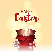 Vector 3d illustration, easter card. Easter bunny in a red box and colored 3d eggs.