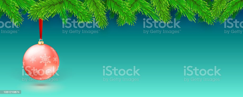 vector 3d illustration of happy new year theme fir tree branches and christmas ball