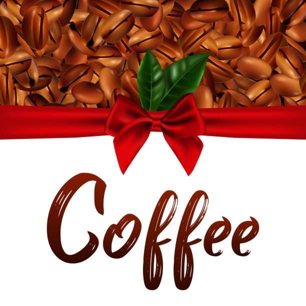 Vektor-3d Illustration mit realistischen Kaffeebohnen, rotes Satinband und grünen Blättern auf einem weißen Hintergrund – Vektorgrafik