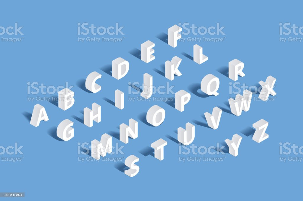 Vector 3d isometric alphabet vector art illustration