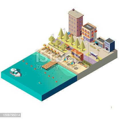 Vector 3d isometric beach with umbrellas, places for tourists. Hotels, buildings on boardwalk, asphalt road with transport. Street in town. Cross section of seashore, ocean. Landscape with water, sand