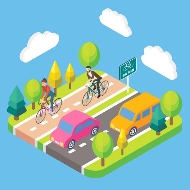 Vector 3d isometric bike route concept illustration vector art illustration