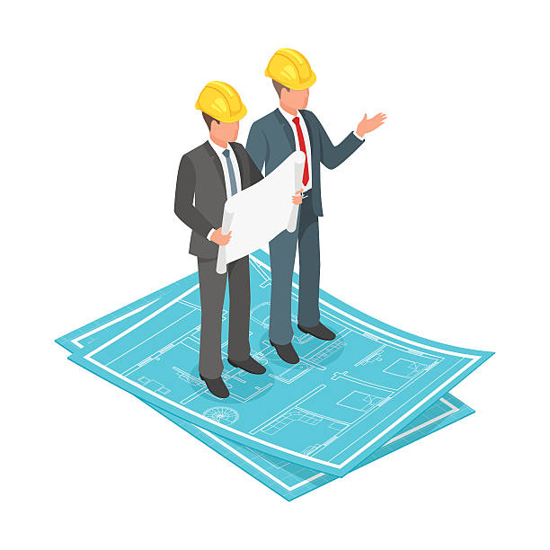 vector 3d isometric concept of businessman or engineer - architekturberuf stock-grafiken, -clipart, -cartoons und -symbole