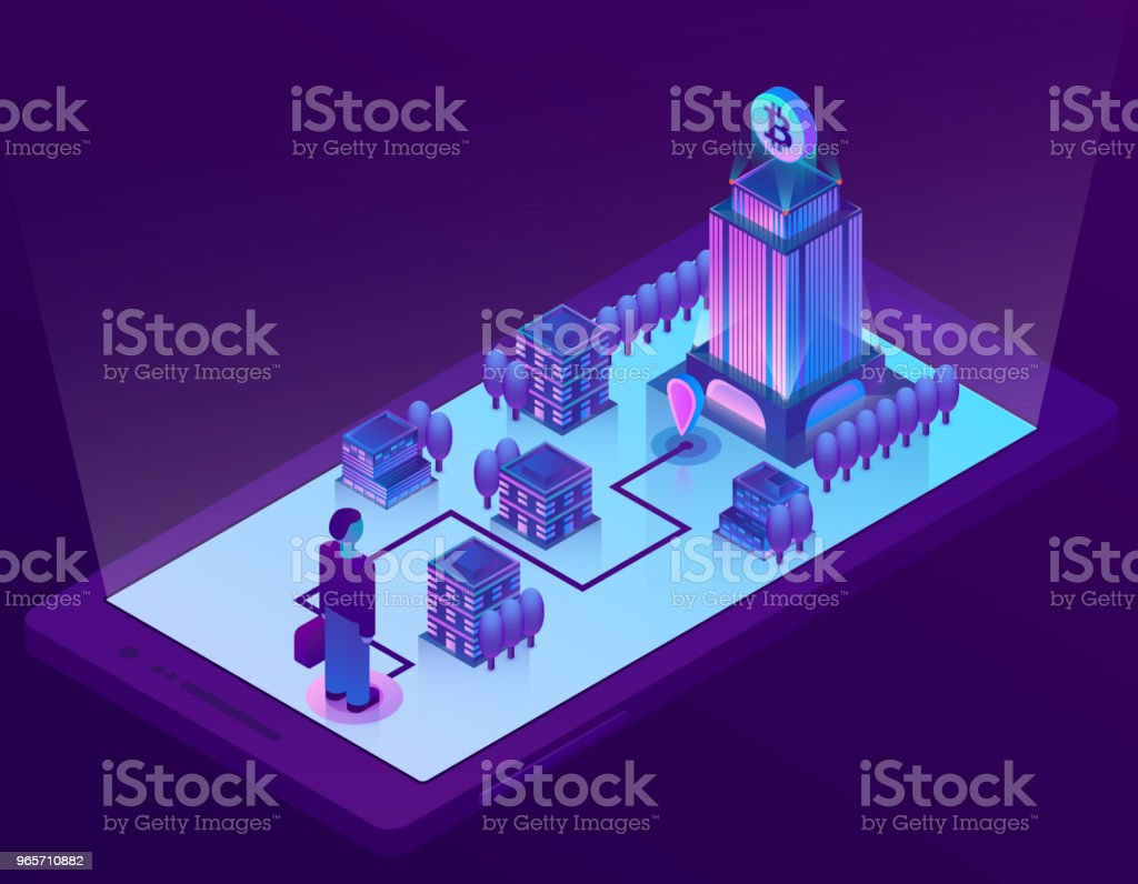 Vector 3d isometric concept with bitcoin mining - Royalty-free Backgrounds stock vector