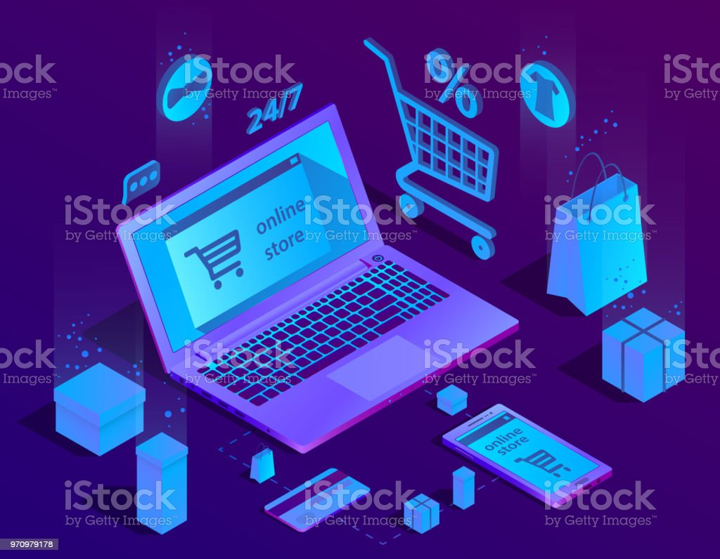 Vector 3d isometric e-commerce concept, online store vector art illustration
