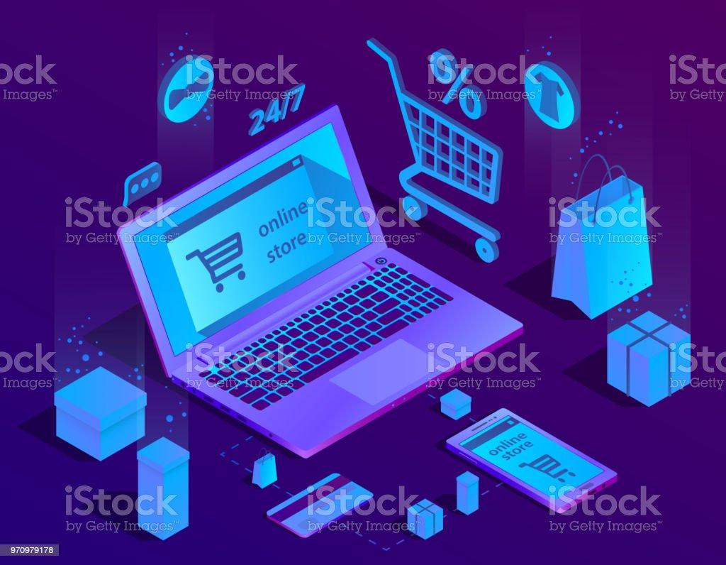 Vektor-3D-Konzept isometrische e-Commerce, Online-Shop – Vektorgrafik
