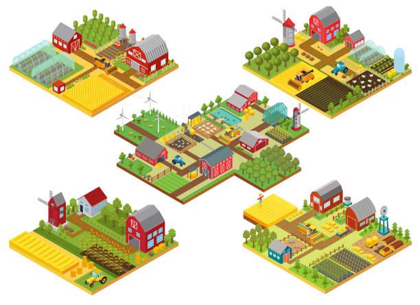 bildbanksillustrationer, clip art samt tecknat material och ikoner med vektor 3d isometrisk landsbygdens gårdar set med traktor, kombinera skördare, hus, fält väderkvarn och lager. - jordbruk