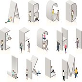 Illustrated people use mobile devices on and near 3D isometric letters. All-caps typeface is a condensed sans-serif in a light weight. Illustrations are grouped for editing.