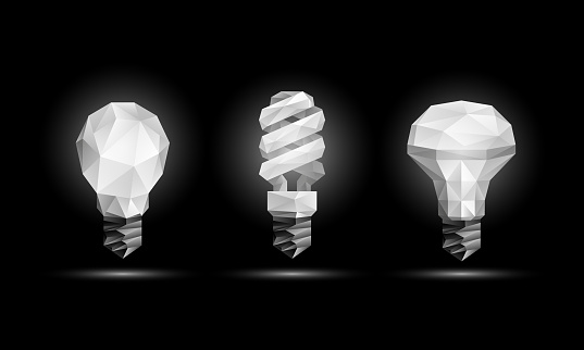 Vector 3d low poly light bulbs model set. Glowing polygonal fluorescent and led bulb illustration on a black background.