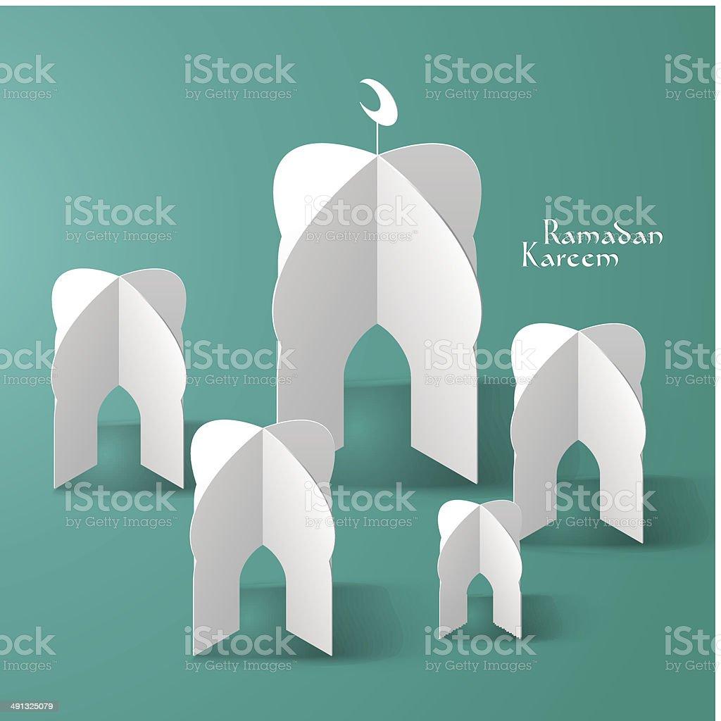 Vector 3d Mosque Paper Sculpture Stock Illustration - Download Image