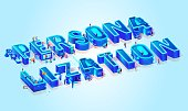 Vector 3d Neon Isometric Word Personalization. Tiny People Moving Among Big Letters, Use New Tech, Data Server and Devices in Life for Shopping, Produce Goods, Work. Light Blue Gradient Background.