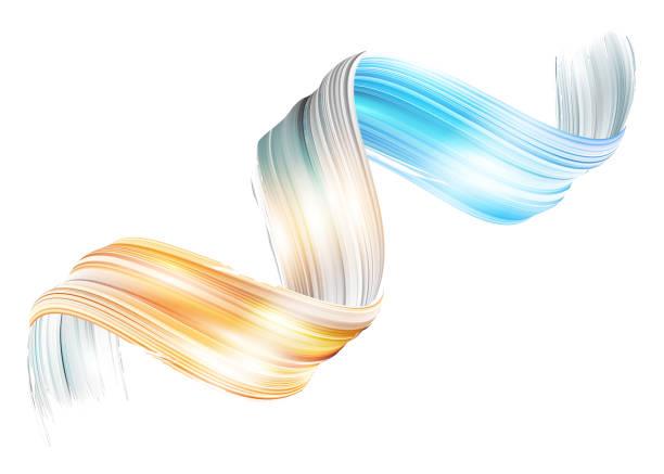vektor 3d paint curl. abstrakte spirale pinselstrich. fließenden band form. flüssige tinte. dynamische künstlerisch welle. isolierte hintergrunddesign. acryl splash band. kalligraphische pinselstrich schleife. - verdreht stock-grafiken, -clipart, -cartoons und -symbole