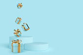 Vector 3d podium scene with falling gift boxes. Mockup for product presentation with copy space. Winner pedestal in studio, blue minimal background for seasonal discounts or holidays.