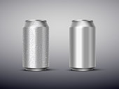 istock Vector 3D realistic aluminum cans with and without water drops isolated on gray background. Empty templates for beer, alcohol, soda, energy drink. Advertising and presentation design element. 1226017776