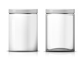 Vector 3d realistic big transparent glass and plastic jars. Mock-up for product package branding.