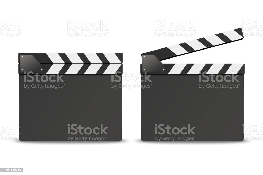 Vector 3d Realistic Blank Closed and Opened Movie Film Clap Board...