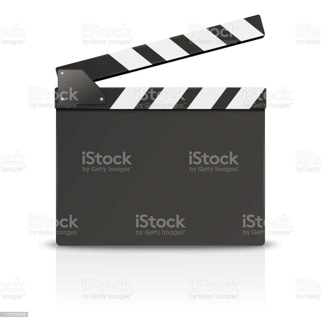Vector 3d Realistic Blank Opened Movie Film Clap Board Icon Closeup...