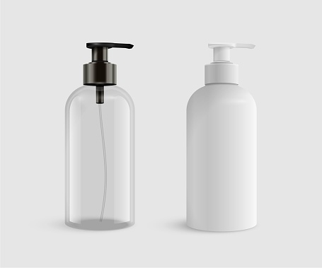 Vector 3D realistic blank transparent and white plastic bottles for Liquid soap or sanitizer