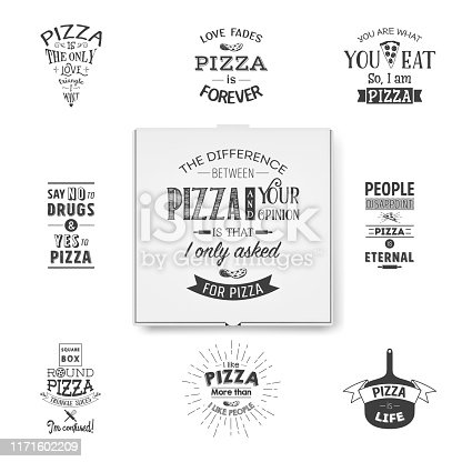 Vector 3d Realistic Blank White Pizza Box Template with Typographic Quotes Closeup Isolated on White Background. Mockup for Logo, Corporate Design. Top View