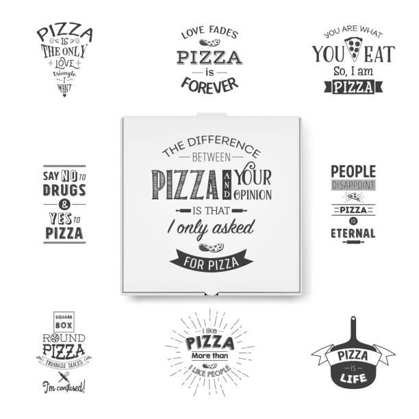 vektor 3d realistische leere weiße pizza-box-vorlage mit typografischen zitate closeup isoliert auf weißem hintergrund. mockup für logo, corporate design. top-ansicht - pizzeria stock-grafiken, -clipart, -cartoons und -symbole