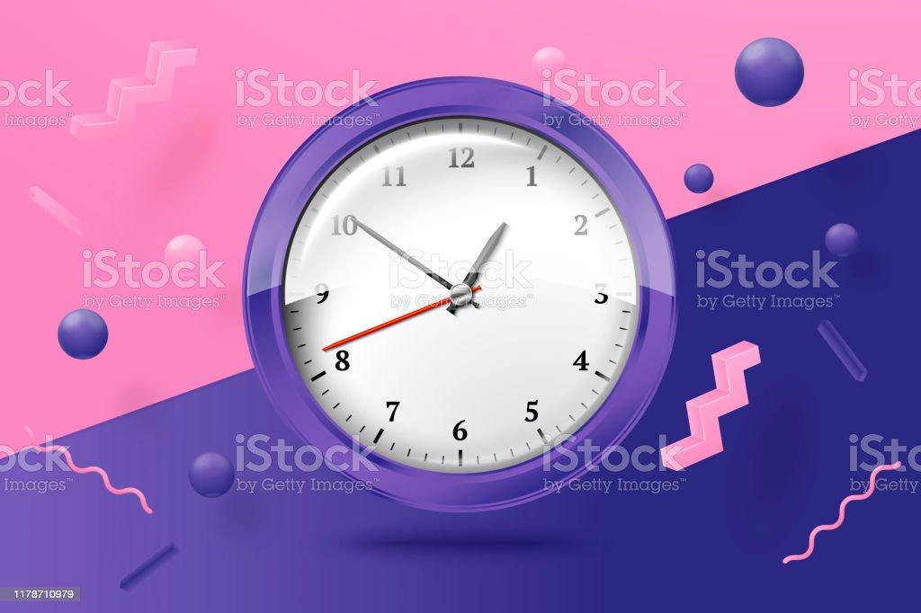 Vector 3d realista relojes brillantes escena abstracta - arte vectorial de Alarma libre de derechos