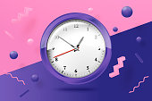 Vector 3d realistic bright watches on abstract scene with violet, pink and white balls and objects.