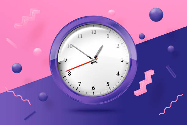 Vector 3d realistic bright watches abstract scene Vector 3d realistic bright watches on abstract scene with violet, pink and white balls and objects. clock stock illustrations
