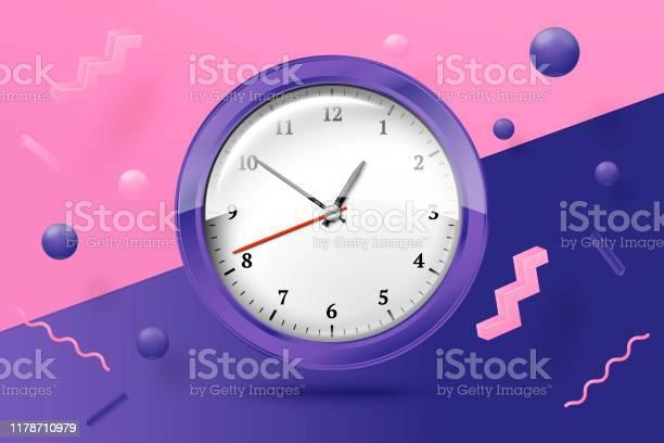 Ilustración de Vector 3d Realista Relojes Brillantes Escena Abstracta y más Vectores Libres de Derechos de Alarma