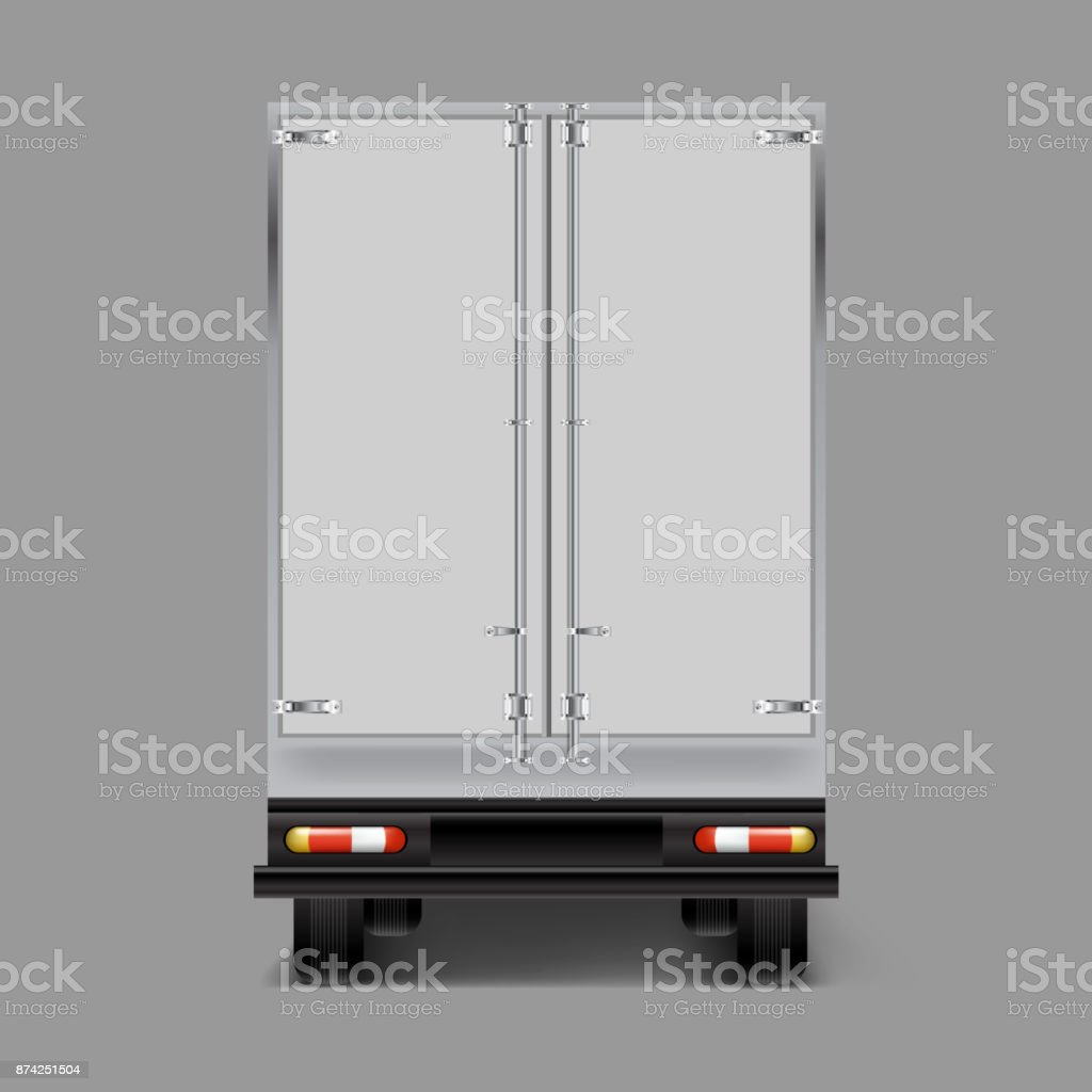 Vector 3d realistic cargo truck back view vector art illustration