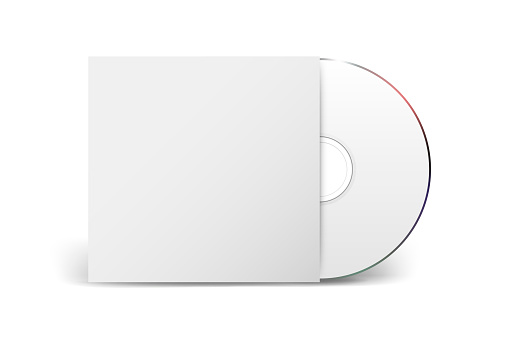 Vector 3d Realistic CD, DVD with Paper Cover Box Closeup Isolated on White Background. Design Template for Mockup. CD Packaging Copy Space. Front View