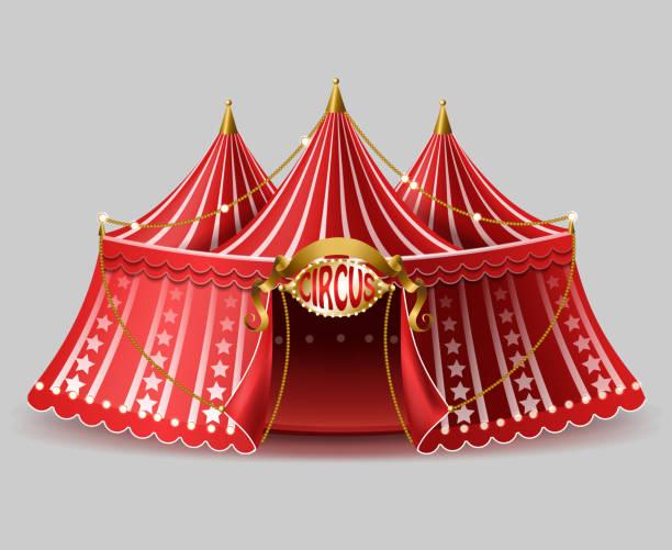 illustrazioni stock, clip art, cartoni animati e icone di tendenza di tenda da circo realistica vector 3d con cartello - funfair entrance