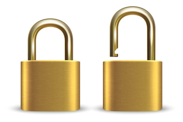 Vector 3d Realistic Closed and Opened Metal Golden Padlock Icon Set Closeup Isolated on White Background. Design Template of Gold Lock for Protection Privacy, Web and Mobile Apps, Logo Vector 3d Realistic Closed and Opened Metal Golden Padlock Icon Set Closeup Isolated on White Background. Design Template of Gold Lock for Protection Privacy, Web and Mobile Apps, Logo. padlock stock illustrations
