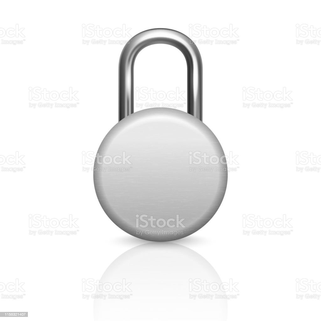 Vector 3d Realistic Closed Circle Metal Silver Chrome Padlock Icon