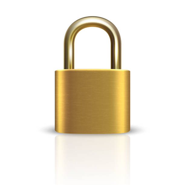 Vector 3d Realistic ClosedMetal Golden Padlock Icon Closeup Isolated on White Background. Design Template of Gold Lock for Protection Privacy, Web and Mobile Apps, Logo Vector 3d Realistic ClosedMetal Golden Padlock Icon Closeup Isolated on White Background. Design Template of Gold Lock for Protection Privacy, Web and Mobile Apps, Logo. unlocking stock illustrations