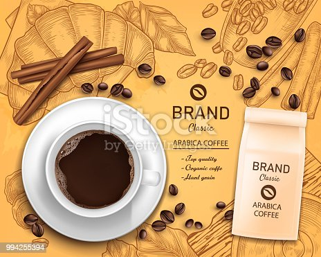 Vector 3d realistic coffee cup and paper package, beans isolated on vintage hand drawn background with grinder, croissant. Advertising, promo of organic product. Classic arabica black drink concept