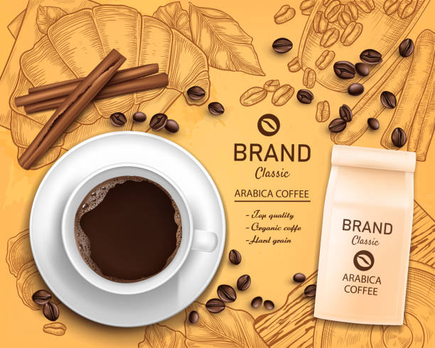 Vector 3d realistic coffee cup, package concept Vector 3d realistic coffee cup and paper package, beans isolated on vintage hand drawn background with grinder, croissant. Advertising, promo of organic product. Classic arabica black drink concept bread backgrounds stock illustrations