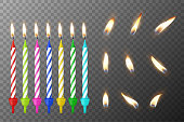 Vector 3d realistic different birthday party colofful wax paraffin burning cake candle and different flame of a candle icon set closeup isolated on transparency grid background. Design template, clipart for graphics.
