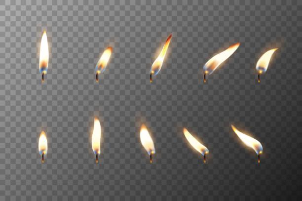 illustrations, cliparts, dessins animés et icônes de vecteur 3d réaliste flamme différent d'une bougie ou simulez closeup réglée icône isolé sur fond de grille de transparence. modèle de conception, clipart pour les graphiques - flamme